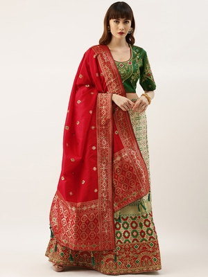 Green & White color Silk Embroidered Semi-Stitched Lehenga & Unstitched Blouse With Dupatta