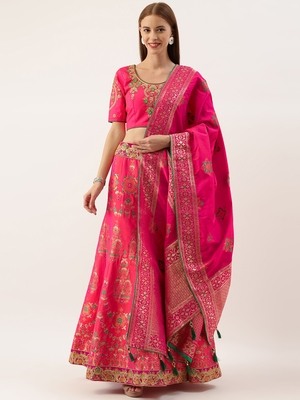 Pink color Silk Embroidered Semi-Stitched Lehenga & Unstitched Blouse With Dupatta