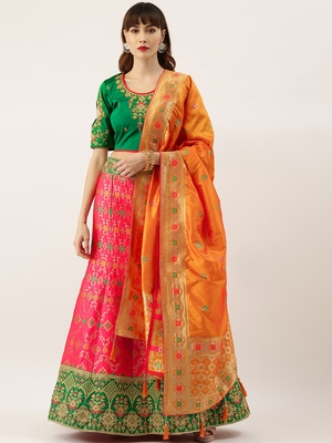 Green & Red color Silk Embroidered Semi-Stitched Lehenga & Unstitched Blouse With Dupatta