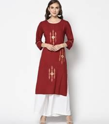 Red Rayon Straight kurti