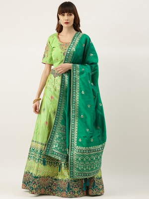 Green color Silk Embroidered Semi-Stitched Lehenga & Unstitched Blouse with Dupatta