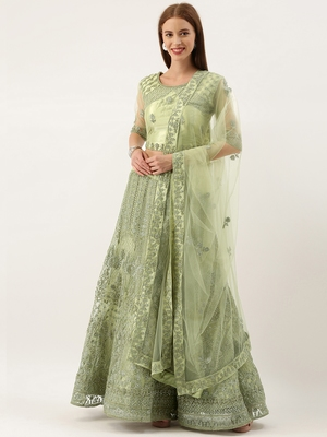 Green color Net Embroidered Semi-Stitched Lehenga & Unstitched Blouse With Dupatta