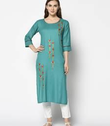 Sea green Rayon Straight kurti