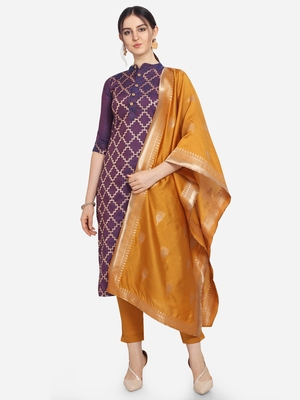 Light Purpal & Mustard Color Unstitched Jacqard Dress Material
