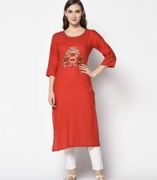 Red Cotton Straight kurti