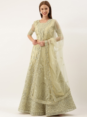 Olive Green color Net Embroidered Semi-Stitched Lehenga & Unstitched Blouse With Dupatta