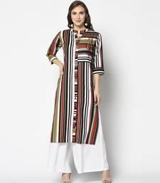 Multicoloured Cotton Straight kurti