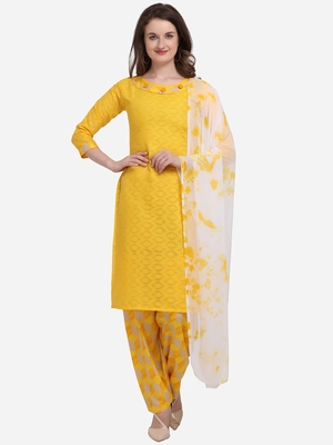 Yellow Color Cotton Printed Unstitched Dress Material
