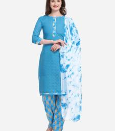 Sky Blue Color Cotton Printed Unstitched Dress Material
