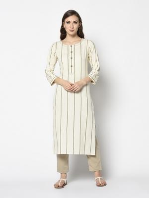 White Cotton Straight kurti