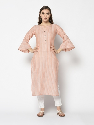 Orange Cotton Straight kurti