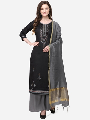 Black & Grey Color Swarosvki Work Unstitched Dress Material