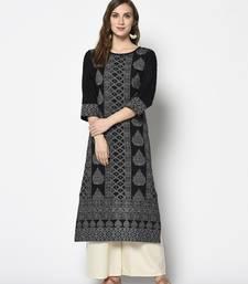 Black Cotton Straight kurti