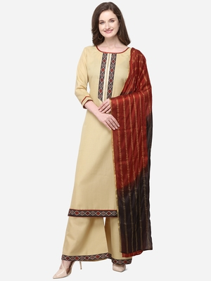 Beige Color Printed Yoke Unstitched Dress Material