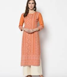 Orange Cotton Straight kurti