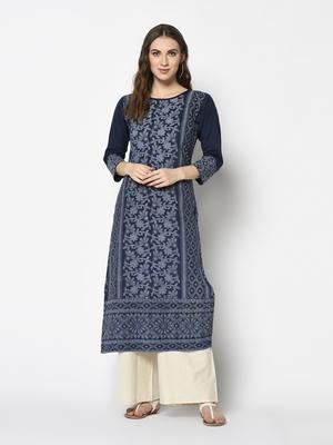 Navy Cotton Straight kurti