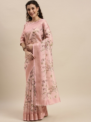 Pink Silk Woven Floral Printed saree with blouse