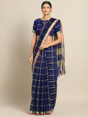 Navy Blue Cotton Silk saree with blouse