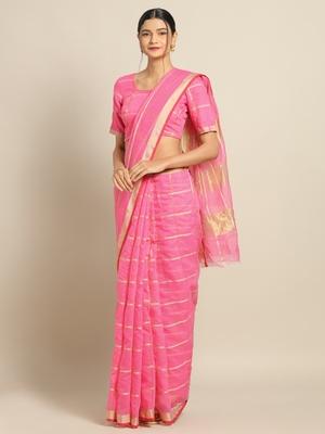 Pink Cotton Silk saree with blouse
