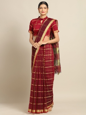 Burgundy Cotton Silk saree with blouse