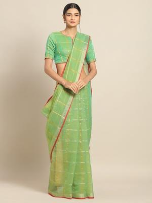 Parrot Green Cotton Silk saree with blouse