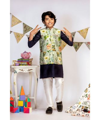 Aqua Printed Silkmul Bandi with Navy Cotton Silk Kurta and Off white Cotton Silk Churidar