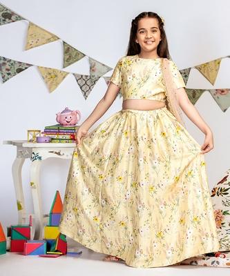 Pale Yellow Printed Dupion Silk Choli with Lehenga and Rose Pink Mukaish Net Dupatta