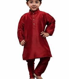 Maroon plain cotton silk boys-suit