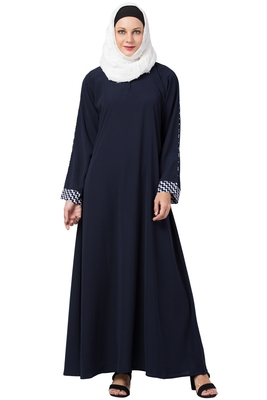 MRC Women A-line simple abaya Crepe Solid Abaya With Hijab