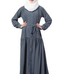 MRC Women Front open abaya with pin-tucks Crepe Solid Abaya With Hijab