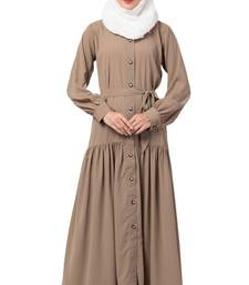 MRC Women Front open abaya with pin-tucks-Beige color Crepe Solid Abaya With Hijab