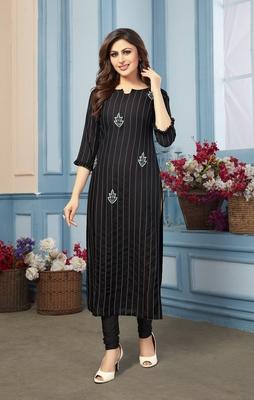 Women's Black Striped Embroidered Straight Rayon Kurta
