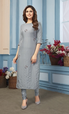 Women's Grey Striped Embroidered Straight Rayon Kurta
