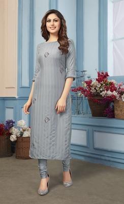 Women's Grey Striped Embroidered Straight Rayon Kurta