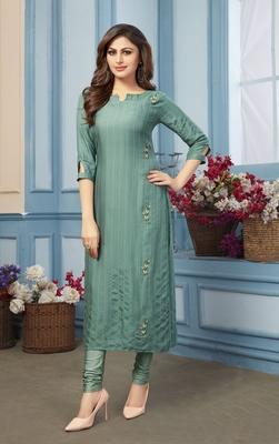 Women's Green Striped Embroidered Straight Rayon Kurta