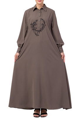 MRC Women A-Line Abaya dual side pocket with cuff sleeve