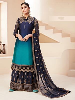 Blue embroidered silk salwar