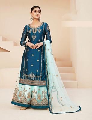 Aqua-blue embroidered georgette salwar
