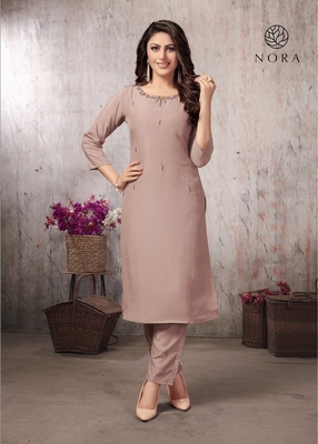 Muslin Fancy Kurti Skin Color With Pant Set For Women