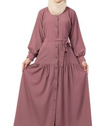 MRC Women Front open abaya with pin-tucks- pink color Crepe Solid Abaya With Hijab