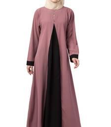 Crepe Solid Burqa With Hijab (Pink, Black)
