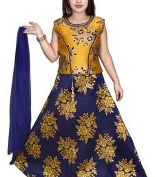 Plain Art Silk Stitched Kids Lehenga Choli