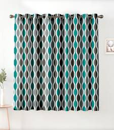 A Tourquise Printed  Polyester Window Curtain
