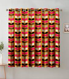 A Orange Printed  Polyester Window Curtain
