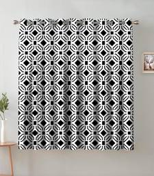 A White & Black Printed  Polyester Window Curtain