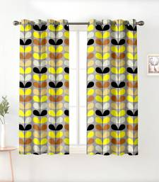A Silver Yellow Printed  Polyester Window Curtain
