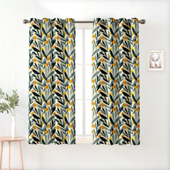 A Multicolor Printed  Polyester Window Curtain