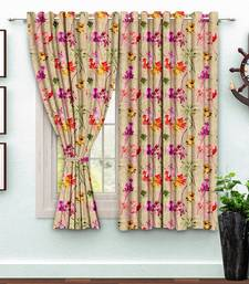 A Beige Printed  Polyester Window Curtain