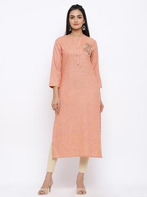 Women's  Peach Handloom Cotton Striped Print & Embroidery Straight Kurta