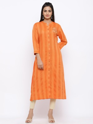 Women's  Orange Rayon Striped Print & Embroidery Straight Kurta
